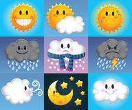 Cartoon weather symbols Stock Image