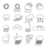 Cartoon Weather Thin Line Icons Set. Vector. Cartoon Weather Thin Line Icons Set Meteorology Forecast Concept for Web Design Flat Style. Vector illustration Royalty Free Stock Photo