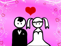 Cartoon of wedding Stock Photos