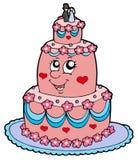 Cartoon wedding cake. Vector illustration Stock Image