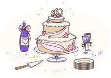 Cartoon wedding cake Royalty Free Stock Images