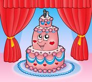 Cartoon wedding cake with curtains Stock Images