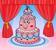 Cartoon wedding cake with curtains stock illustration