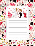 Cartoon wedding card Stock Images