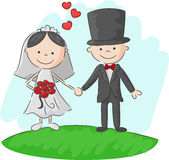 Cartoon Wedding ceremony bride and groom Stock Photography