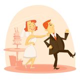 Cartoon wedding couple Stock Image