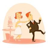Cartoon wedding couple. Illustration Stock Image