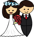 Cartoon wedding couple. With flowers illustration Royalty Free Stock Photo