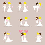 Cartoon wedding couple. Collection of cartoon wedding couple Royalty Free Stock Photography