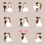 Cartoon wedding couple. Collection of cartoon wedding couple Royalty Free Stock Images