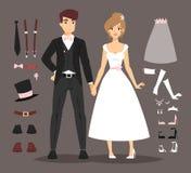 Cartoon wedding couple and ixons vector Stock Photography