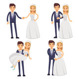 Cartoon wedding couple. Just married vector characters. Groom and bride love togetherness and happiness illustration Royalty Free Stock Photography