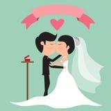 Cartoon wedding couple kissing for postcard. Stock Photo