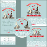 Cartoon wedding couple on retro bike.Design  template set Royalty Free Stock Photos