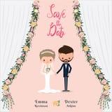 Cartoon wedding couple save the date invitation card Stock Photos