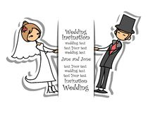 Cartoon wedding picture.vector Royalty Free Stock Images