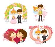 Cartoon wedding set Stock Photos