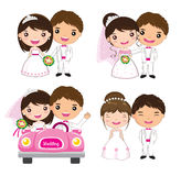 Cartoon wedding set. Character cartoon wedding couple set vector illustration