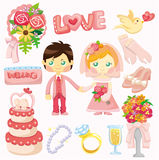 Cartoon wedding set icon Royalty Free Stock Image