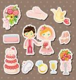 Cartoon wedding stickers Royalty Free Stock Photo