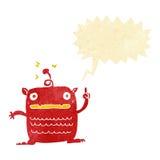 Cartoon weird little alien with speech bubble Stock Photos