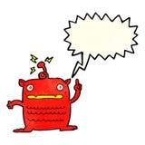 Cartoon weird little alien with speech bubble Royalty Free Stock Photo