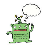 cartoon weird little alien with thought bubble Royalty Free Stock Images