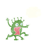 cartoon weird little alien with thought bubble Royalty Free Stock Photos