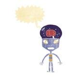Cartoon weird robot with speech bubble Royalty Free Stock Image