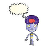 Cartoon weird robot with speech bubble Royalty Free Stock Images