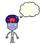 cartoon weird robot with thought bubble Stock Photography