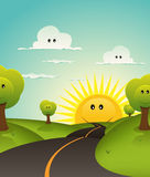 Cartoon Welcome Spring Or Summer Landscape Royalty Free Stock Photography