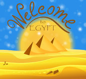 Cartoon Welcome to Egypt concept. Egyptian pyramids in the desert with blue shiny sky Stock Photos