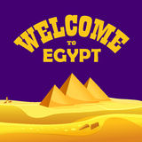 Cartoon Welcome to Egypt concept. Egyptian pyramids in the desert with night sky Stock Photo