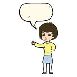Cartoon welcoming woman with speech bubble Stock Image
