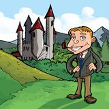 Cartoon of well to do man with a pipe Royalty Free Stock Images