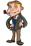 Cartoon of well to do man with a pipe Royalty Free Stock Image