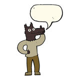 Cartoon werewolf with idea with speech bubble Royalty Free Stock Images