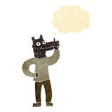 Cartoon werewolf with idea with thought bubble Royalty Free Stock Image