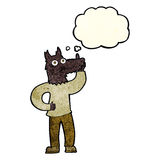 Cartoon werewolf with idea with thought bubble Stock Images