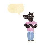 Cartoon werewolf with speech bubble Royalty Free Stock Photo