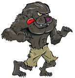 Cartoon werewolf with tongue. Isolated on white Royalty Free Stock Image