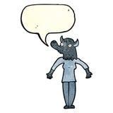 Cartoon werewolf woman with speech bubble Royalty Free Stock Image