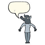 Cartoon werewolf woman with speech bubble Royalty Free Stock Images