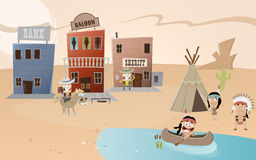 Cartoon western town and indian settlement stock illustration