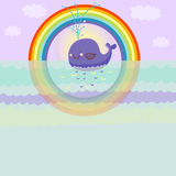 Cartoon whale. Happy cartoon whale in the see under the rainbow Stock Photo