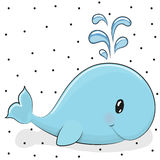 Cartoon whale. Cute cartoon blue whale on a dots background Stock Photos