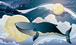 Cartoon whale and fantastic sky. Royalty Free Stock Image