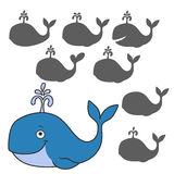 Cartoon whale. Find the right shadow image. Educational games for kids.rCartoon whale Stock Photos