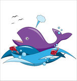 Cartoon whale and fish swim in the ocean Stock Photo